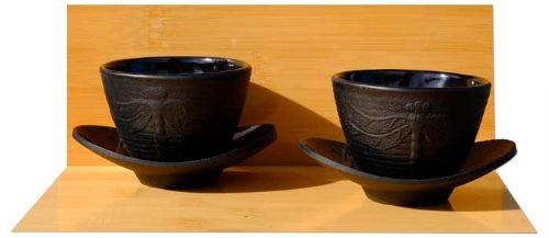 Cast iron Black Dragonfly tea cups and coasters X2  - Set D – Bamboo design